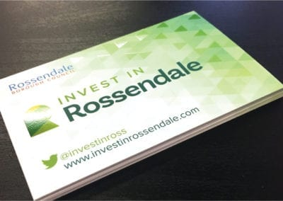 Spot UV business cards for Rossendale Council