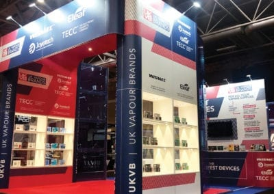 Exhibition design for UK Vapour Brands NEC Birmingham