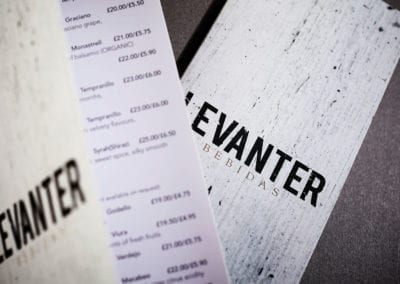 Spanish restaurant Levanter wine list